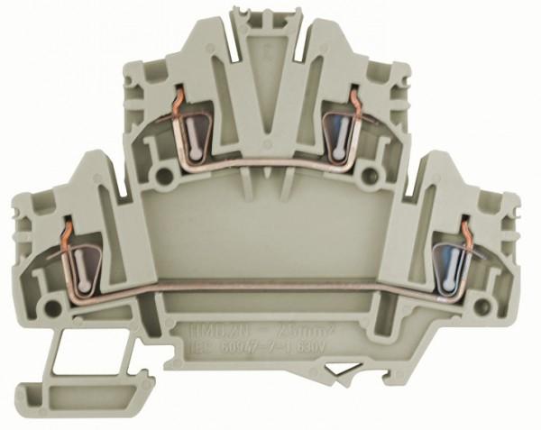 Federkraft-Doppelstockklemme HMD.2N grau, 2,5mm²